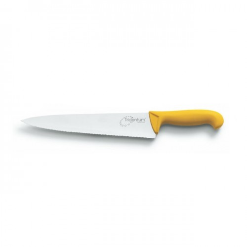 Coltello tridentum cuoco seghettato cm.30 giallo