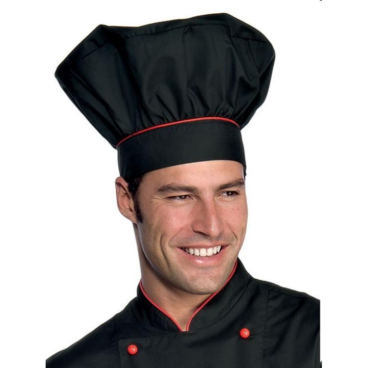 Cappello cuoco nero filo rosso
