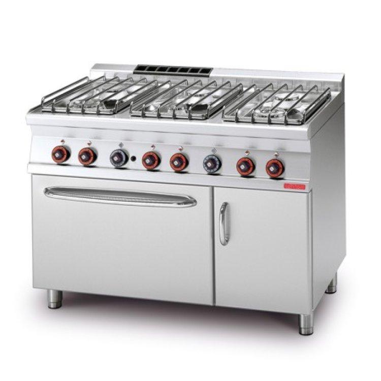 Cucina 70 6 fuochi gas forno 2 1 120x70x90 for Cucina 6 fuochi con forno